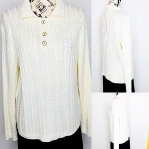 VTG Alfred Dunner Ivory Cable Knit Sweater P Lg